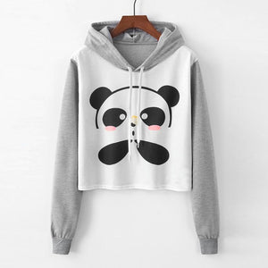 2018 Winter Womens Blouse hoddies Long Sleeve Cartoon Panda Printing uotelab-uotelab