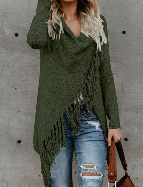 Women long fringed Knitted Jacket Sweater Loose Coat Tassels Long Sleeved Scarfuotelab-uotelab