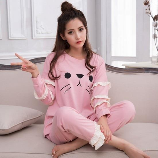 Cartoon Snoopy Print Autumn Pajama Set Cotton Casual Long Sleeve Shirt +uotelab-uotelab