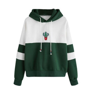 Women's Fashion Sweatshirt Womens Long Sleeve Cactus Print Hoodie Sweatshirt Hooded Pulloveruotelab-uotelab