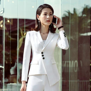 2018 Suit Women New Fashion Business Interview Host Overalls Suit Wide-legged Pantsuotelab-uotelab