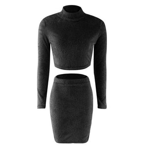 Set (2pcs) Autumn Women Bandage Suit Long Sleeve Fleece Crop Top Penciluotelab-uotelab