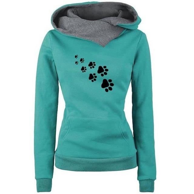 2018 New Fashion Funny Paw Print Sweatshirts Hoodies Women Tops Pocketsuotelab-uotelab