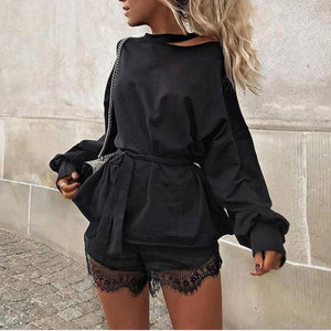 Women Balck Long Hoodies Loose Off Shoulder Sweatshirt Fashion 2018 Autumn Winteruotelab-uotelab