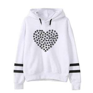 2018 New Fashion Dog Cat Paw Print Hoodies Sweatshirts Femmes Kawaii uotelab-uotelab