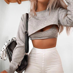 2018 New Autumn Irregular Pullovers Navel Bare Cropped Loose Casual Topsuotelab-uotelab