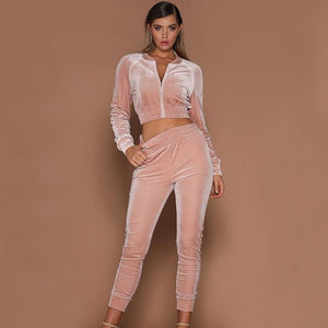 2017 Autumn Women 2pcs Short Zipper Hoodies Sweatshirt Elasic Waist Pants Setsuotelab-uotelab