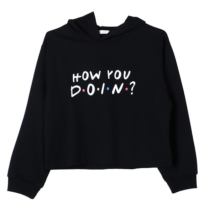 Women Friends TV Show Hoodie How You Doin Letter Print Crop Hoodieuotelab-uotelab