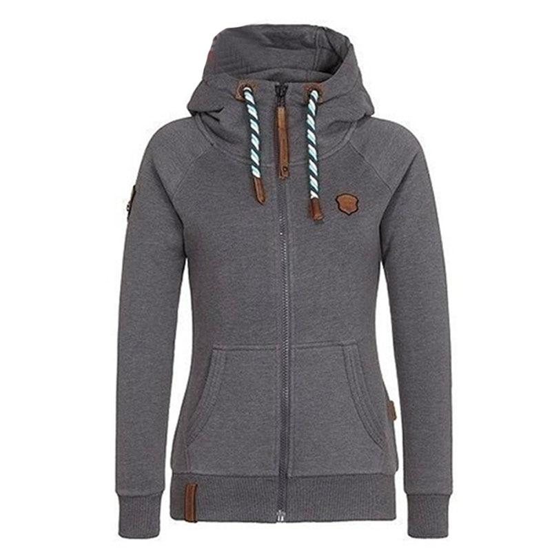 Autumn Hooded Zipper Hoodies Women Loose Cotton Long Sleeve Solid Sweatshirts Plusuotelab-uotelab