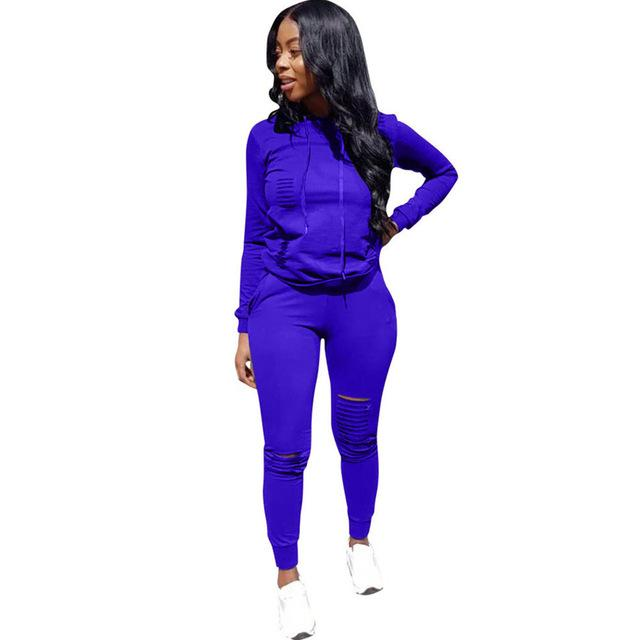 Winter Suit Hooded Tracksuit Women Two Piece Set Long Sleeve Hole Topuotelab-uotelab
