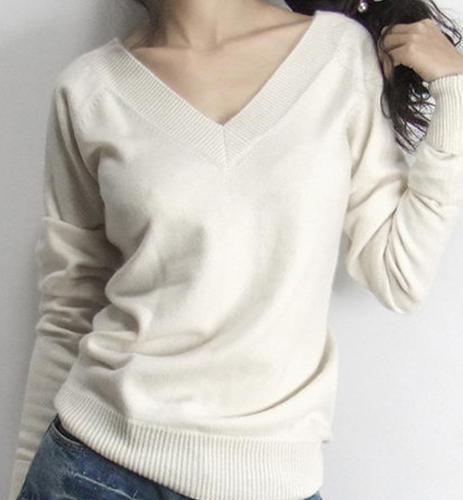 2018spring new arrival female slim cashmere sweater double V-neck before and afteruotelab-uotelab
