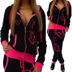 New Fashion Printed 2pcs Hooded Tracksuits Womens Casual Sport Wear Zipper Jacketsuotelab-uotelab
