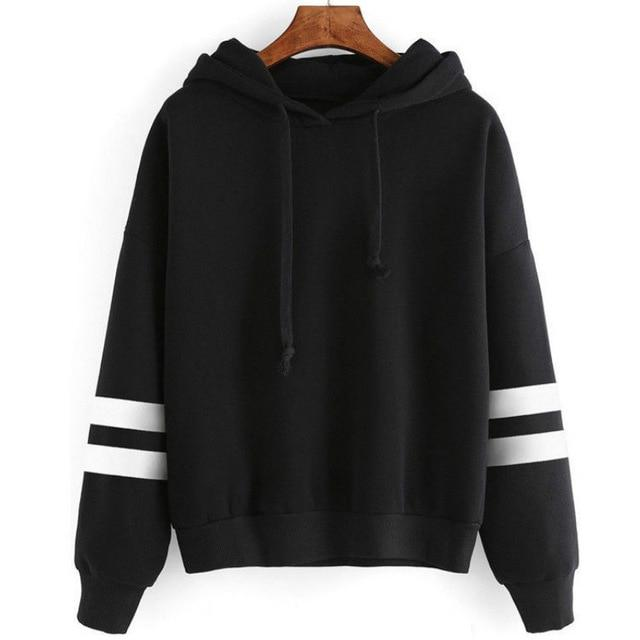 Hot Sale Girls Hoodies Long Sleeve Hooded Sweatshirt Striped decoration Womenuotelab-uotelab
