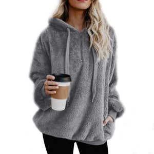 Women'S Casual Loose 1/4 Zip Sherpa Fleece Pullover Hoodie With Pocketsuotelab-uotelab