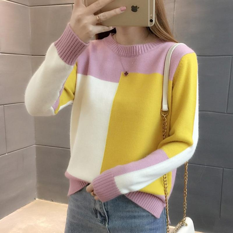 Surmiitro Fashion Patchwork Winter Sweater Women 2018 Autumn Long Sleeve Knitted Jumperuotelab-uotelab