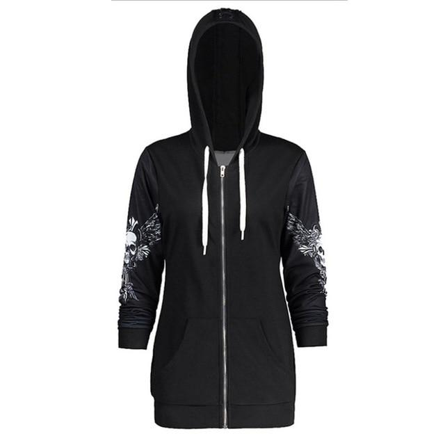 Gothic Skull Hooded Hoodies Women Halloween Coat Fashion Zipper Fitness Streetwearuotelab-uotelab