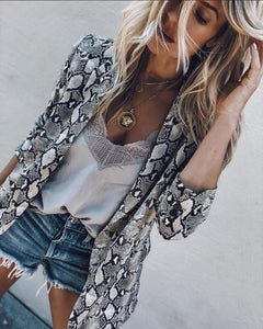 2018 New Women Printed Snake Office Lady Blazer Jacket Fashion Notcheduotelab-uotelab