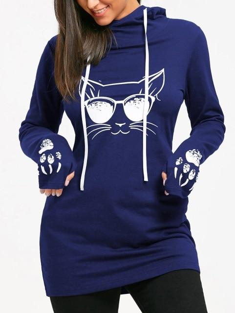 2018 Autumn Fashion Women Cat Printed Hoodie Sweatshirts Casual Long Loose Hoodyuotelab-uotelab