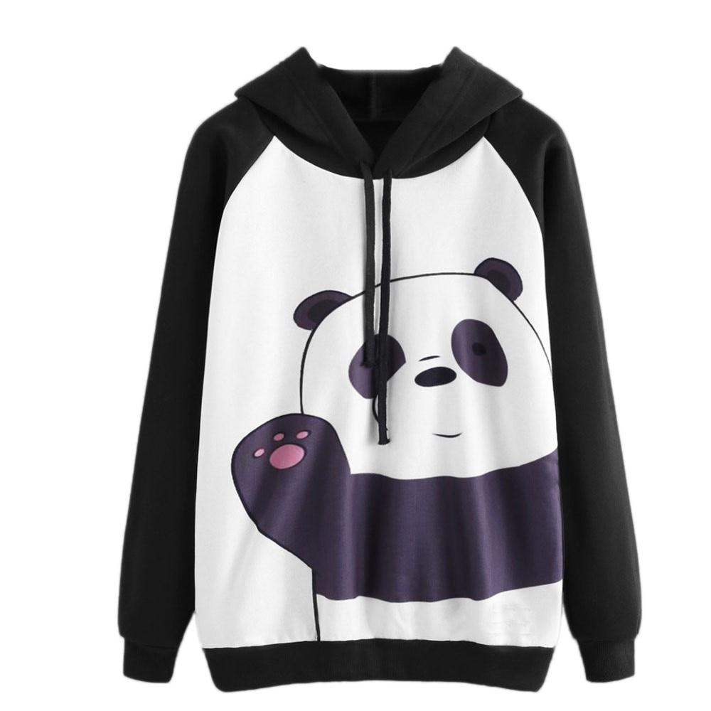 Women Kawaii Panda Print Hooded Sweatshirt Autumn Ladies Oversized Long Sleeve Casualuotelab-uotelab