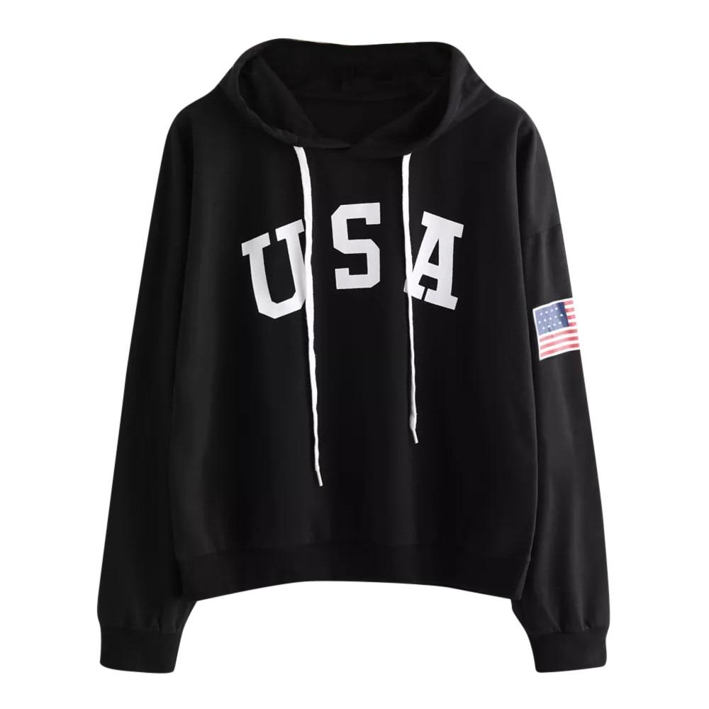 USA Print letter National Flag Hoodies Women 2018 Female Sweatshirts Pullover Warmuotelab-uotelab