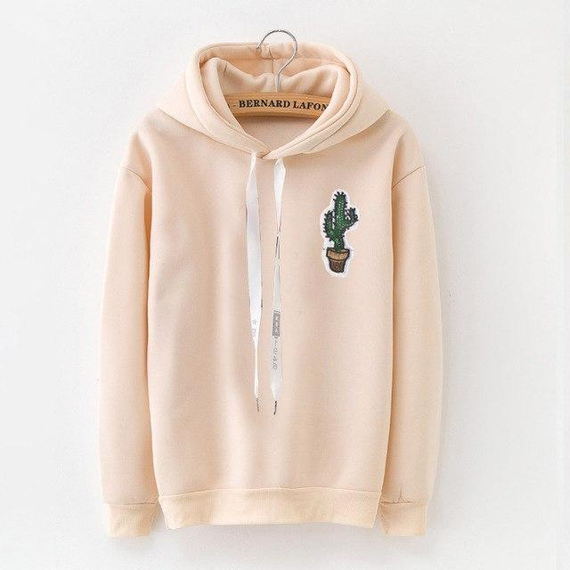 LANSHANQUE Autumn winter long sleeve hood hoodies Kpop pineapple print pullovers femaleuotelab-uotelab