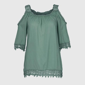 Womens Tops And Blouses Plus Size 4XL Lace Hollow Out Short Sleeveuotelab-uotelab