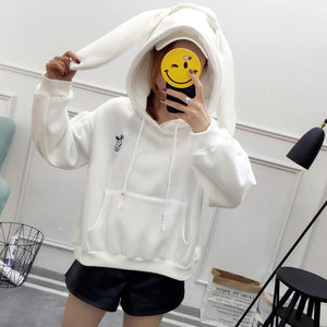 Free Shipping Kawaii Sweatshirts Hoodies Women Rabbit Ears Long Sleeve Pinkuotelab-uotelab