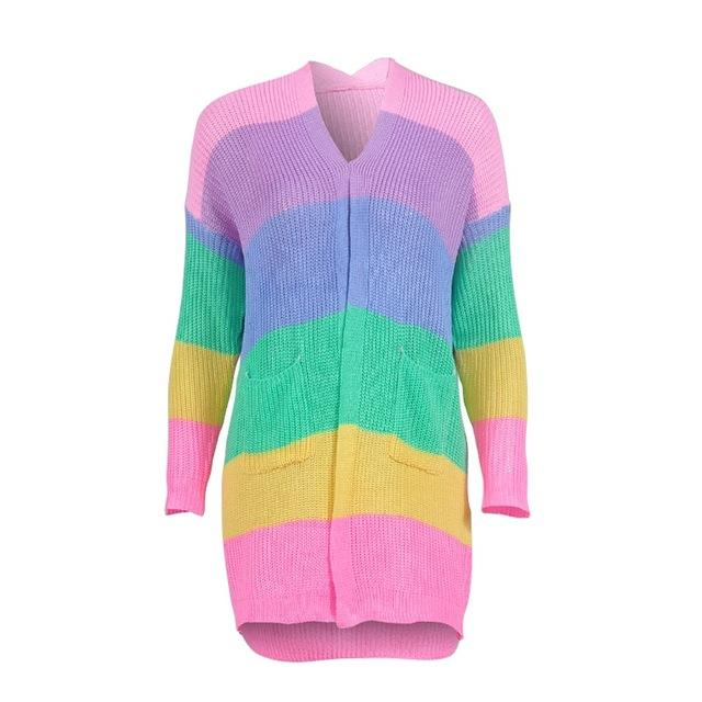 2018 Autumn lady's sweater Long Sleeve Patchwork Knitted Open Front Rainbow Stripeduotelab-uotelab