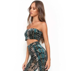 Sexy Snake Print Womens Two Piece Sets 2018 Summer Autumn Spaghetti Strapuotelab-uotelab