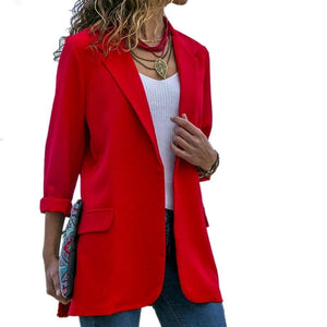 Women Blazer Long Sleeve Open Front Lightweight Casual Office Lapel Turn Downuotelab-uotelab