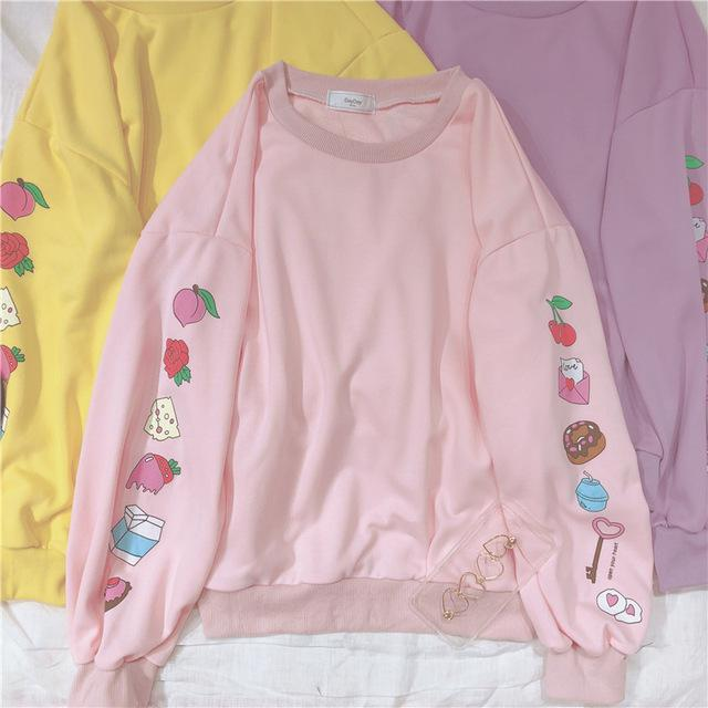 Cute Cartoon Pattern Loose Sweatshirts For Kawaii Girl Long Sleeve Pullover Lolitauotelab-uotelab