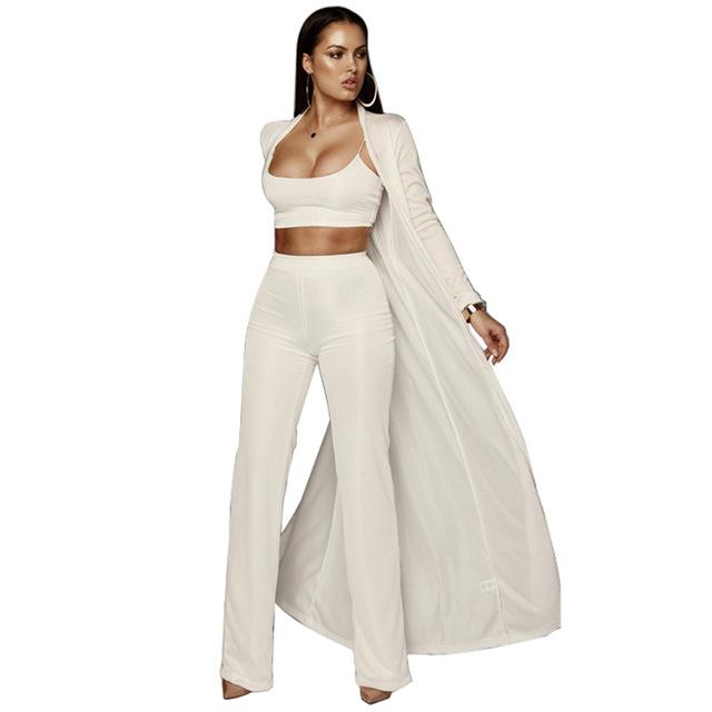 New Women Knitted 3 Piece Set Spaghetti Strap Crop Top High Waistuotelab-uotelab