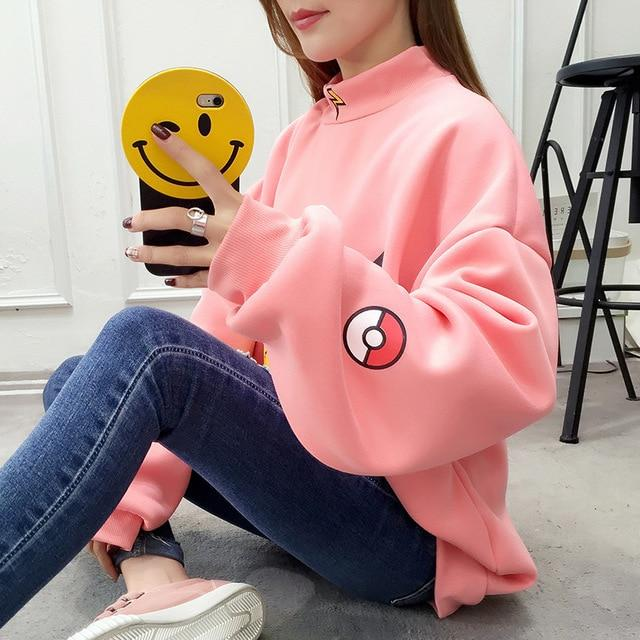 2018 Autumn Women Hoodies Turtleneck Pikachu Print Sweatshirts Harajuku Fashion Kawaii Topsuotelab-uotelab