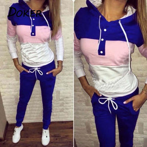 2018 Spring Female Sporting Suits Ladies Slim 2 Pieces Sets Women Patchworkuotelab-uotelab
