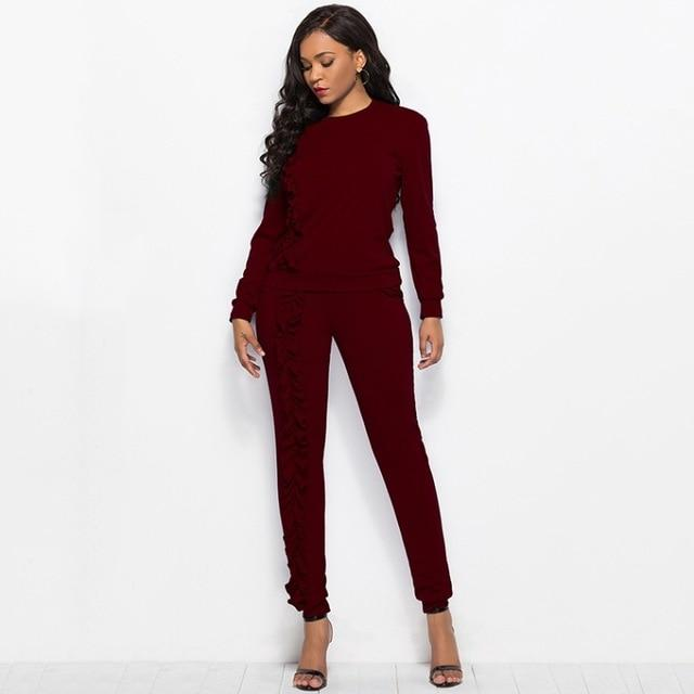 2018 2 Piece Set Tracksuit for Women O-neck Long Sleeve Blouseuotelab-uotelab