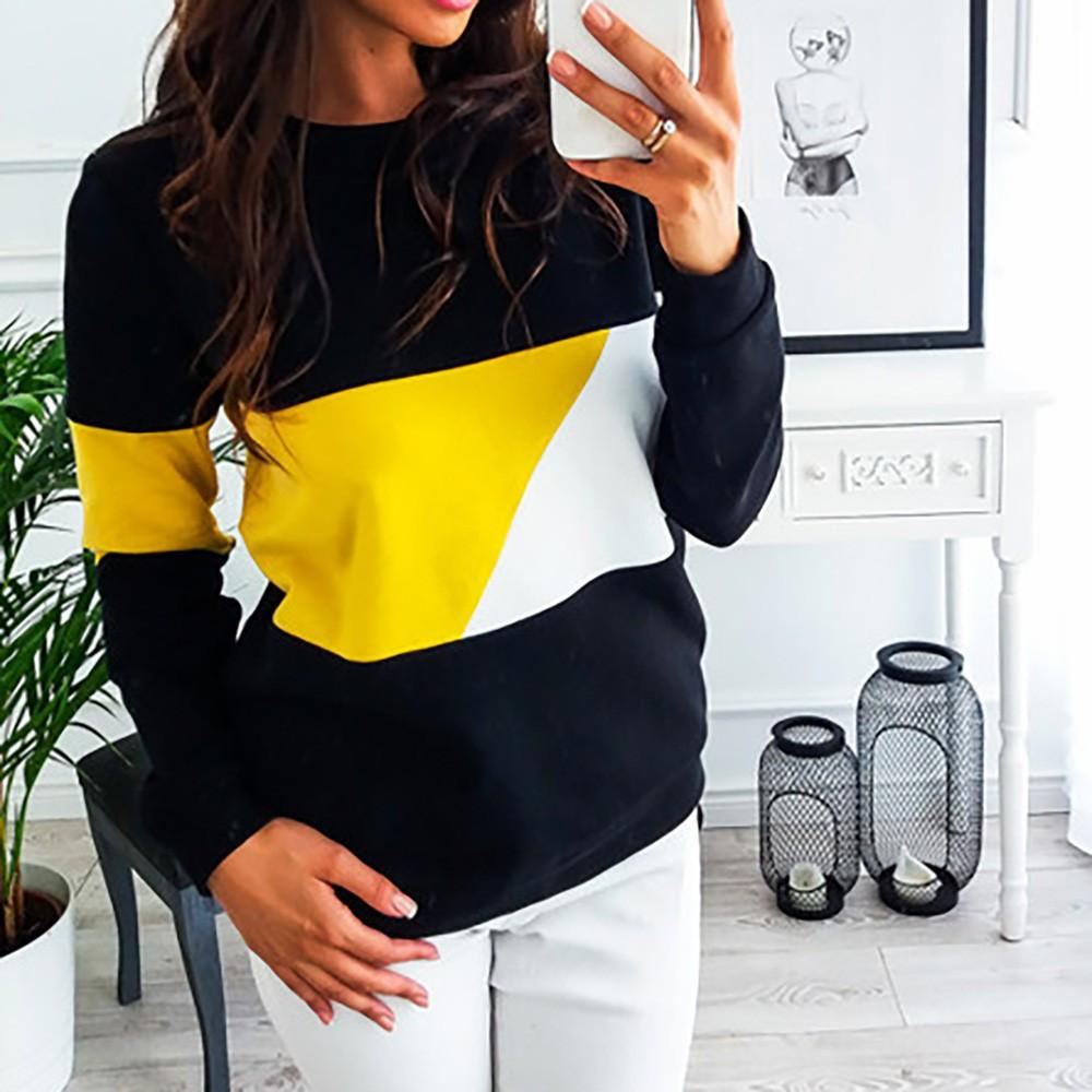 Women hoodies Winter clothes Casual Color Block Long Sleeve Pullovers Sweatshirtuotelab-uotelab