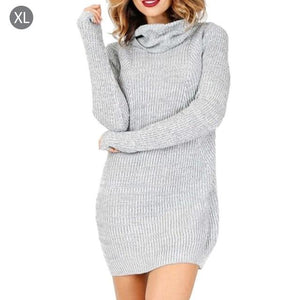 Simple 2018 Casual Turtleneck Long Knitted Sweater Dress Women Cotton Slim Bodyconuotelab-uotelab