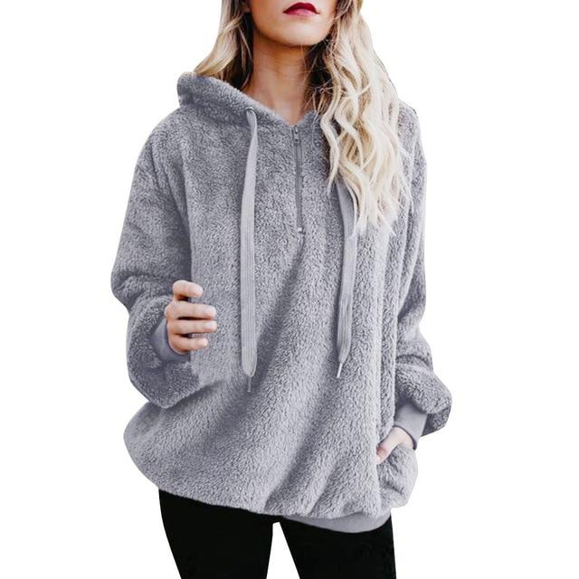 2018 Hot Sale Fashoin Womens Sexy Solid Fluffy Winter Top Hoodiesuotelab-uotelab