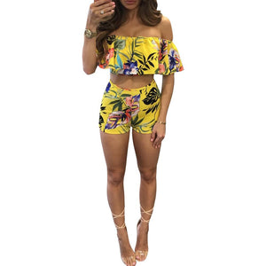 Floral Print Casual Women Set Sexy Off The Shoulder Slash Neck Pulloveruotelab-uotelab