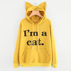 Women Pullovers Hoodies Letter Print Spring Autumn Cat Ears Hooded Fashionuotelab-uotelab