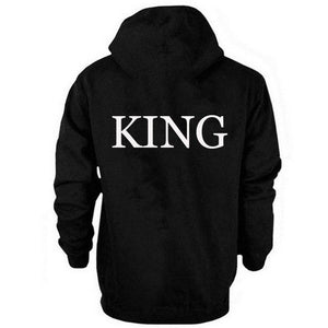 KING QUEEN Letter Print Couple Women Hoodies Loose Cotton Hooded black Sweatshirtsuotelab-uotelab