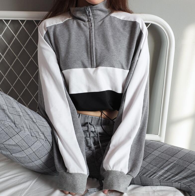Autumn Turtleneck Women Patchwork Crop Top Long Sleeve Pullovers Sweatshirtuotelab-uotelab