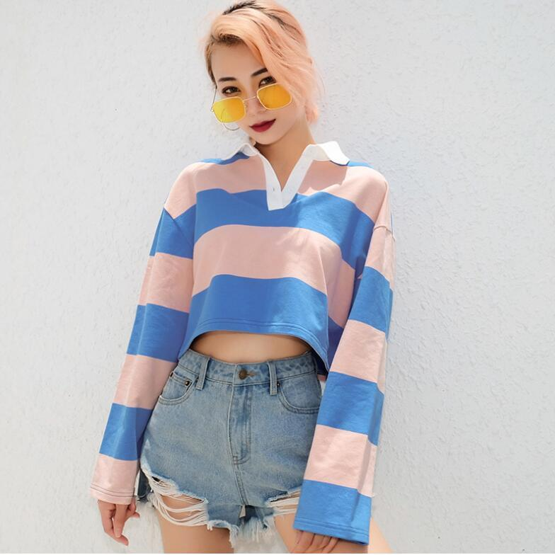 2018 autumn and winter new long-sleeved stripes patchwork loose sweatshirt womenuotelab-uotelab
