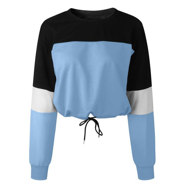 Womens Long Sleeve Splcing Color Sweatshirt Pullover Tops Blouse 2018 Autumn Hoodieuotelab-uotelab