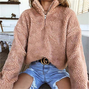 Winter Warm Women Sweaters Ladies Fluffy Cotton Turtleneck Sweaters Pullovers Zipper Knitteduotelab-uotelab
