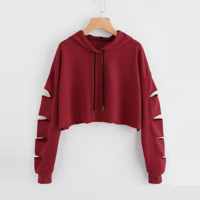 Harajuku Sweatshirt Crop Top Hoodies Autumn 2018 Women Streetwear Hollow Out Hoodieuotelab-uotelab
