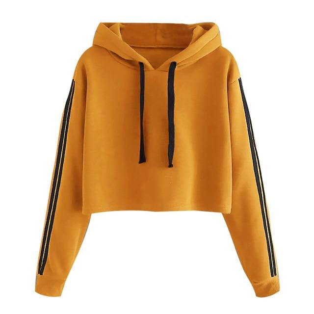 Autumn Spring Fashion Sweatshirt Women Short Striped Long Sleeve Hoodie Sweatshirt Hoodeduotelab-uotelab