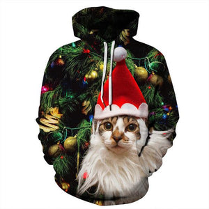 Christmas Cat Hoodie Funny Cute Dogs 3d Sweatshirt Unisex Holiday Tops Casualuotelab-uotelab