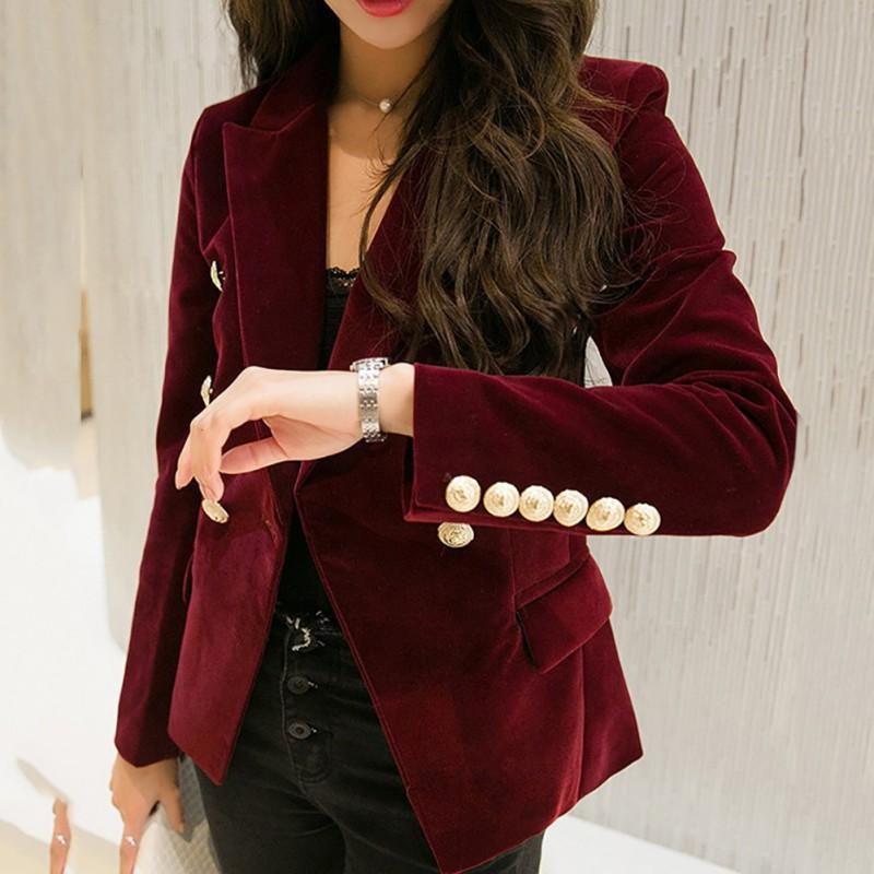*2018 Autumn Velvet Blazer OL Formal Work Small Suit jacket Women Slimuotelab-uotelab