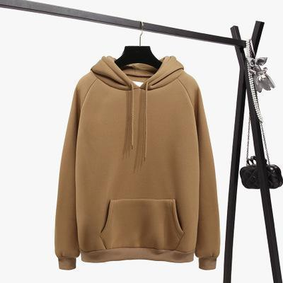 2018 Fashion Solid Color Autumn And Winter Plus Velvet Loose Women's Sweatshirtuotelab-uotelab
